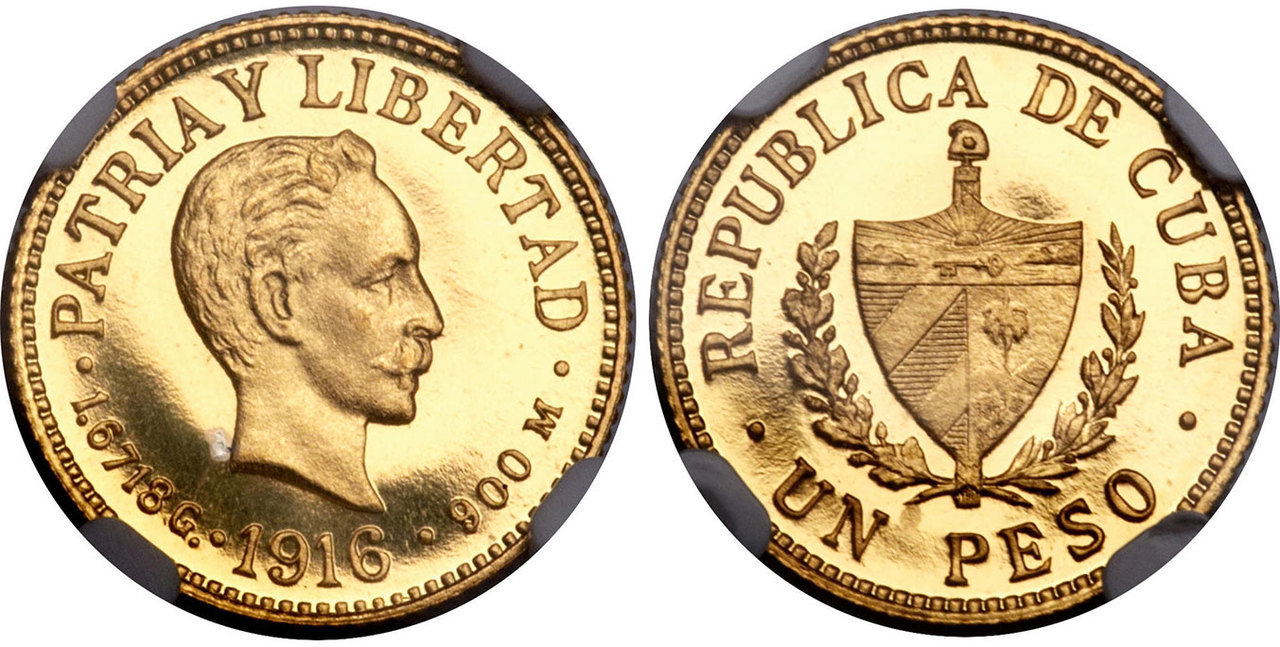 CUBA. 1916 AV Peso. All images Atlas Numismatics unless otherwise noted
