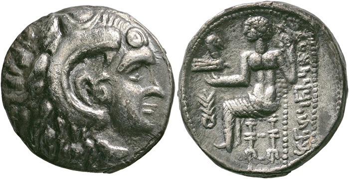 ((150 – Eastern Arabia. 'Abi'el, daughter of Nasil. Tetradrachm following the style of Alexander III. Mileiha, 3rd-2nd cent. BC. Rare. Extremely fine. Estimate: 3,000 euros. Starting price: 1,800 euros.))