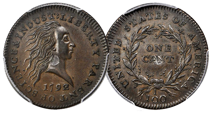 1792 Silver Center Cent - Stack's Bowers - PCGS MS61BN