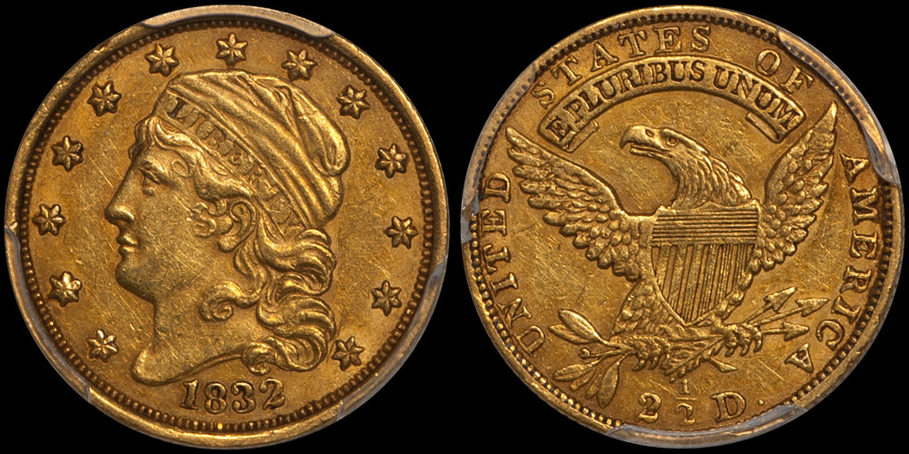 1832 $2.50 PCGS AU55 CAC. Images courtesy Doug Winter