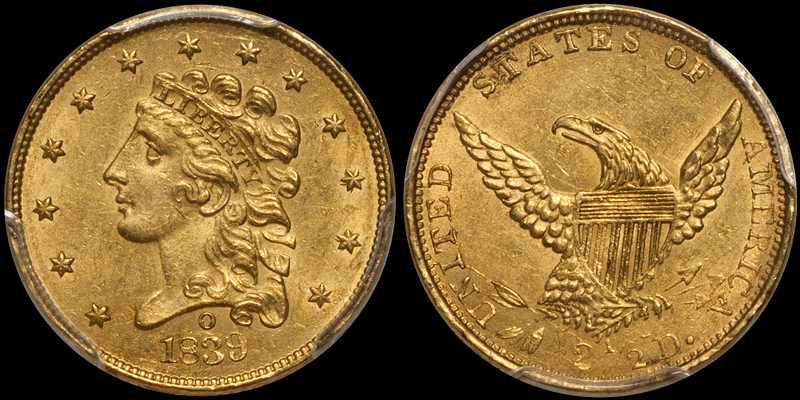1839-O $2.50 PCGS MS62. Images courtesy Doug Winter