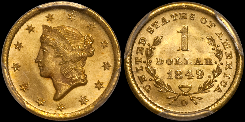 1849-O $1.00 PCGS MS65+. Images Doug Winter