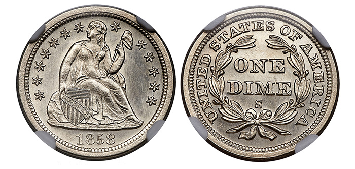 1858-S Dime - Heritage Auctions - NGC MS66