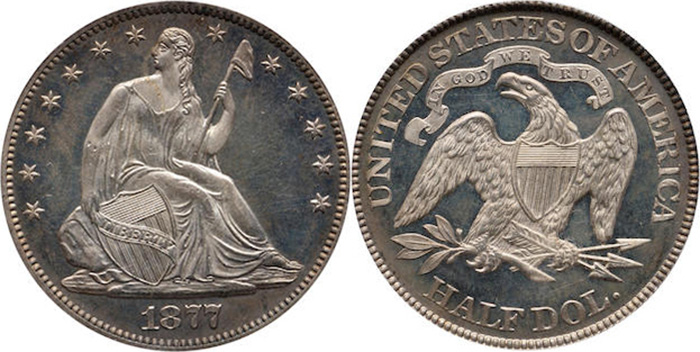 Half dollar Philadelphia Seated Liberty 1877