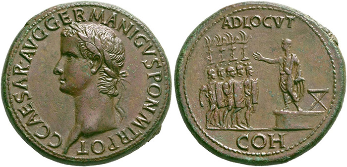((192 – Caligula, 37-41. Sestertius, 37-38. Slightly smoothed, otherwise extremely fine. Estimate: 5,000 euros. Starting price: 3,000 euros.))