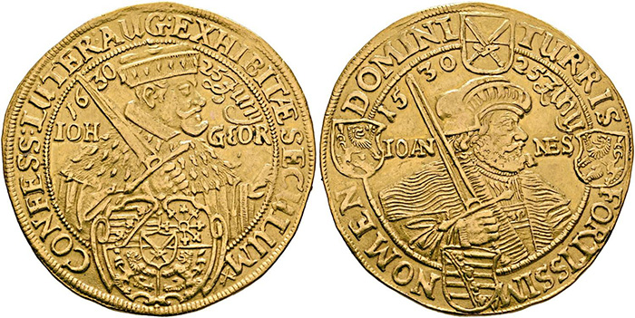 ((362 – Saxony. Johann Georg I, 1615-1656. 10 ducats 1630, Dresden. On the centenary of the presentation of the Augsburg Confession. Fields slightly smoothed. Solder mark, otherwise almost extremely fine. Estimate: 15,000 euros. Starting price: 9,000 euros.))