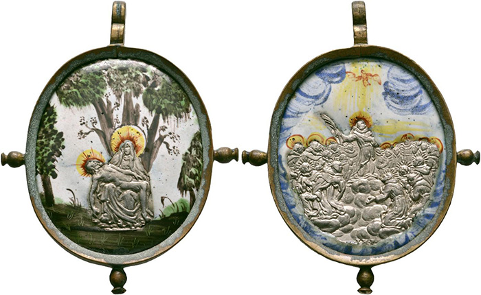 ((427 – Pilgrimage. Dreieichen. Johannes Hameranus. Pendant in brass frame with studs, silver inlays in painted enamel, 17th cent. Extremely fine. From Dorotheum sale 393 (1929), No. 554. Estimate: 2,000 euros. Starting price. 1,200 euros.))