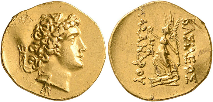 ((65 – Asander, King of Bosporus 43-16 BC. Gold stater, year 6 (= 42/1). Extremely fine. Estimate: 5,000 euros. Starting price: 3,000 euros.))