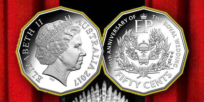 Royal Australian Mint Fifty Cents 70th Anniversary of the Royal Wedding