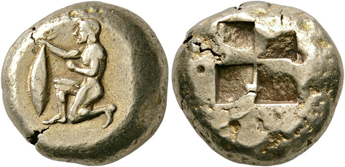 ((84 – Cyzicus (Mysia). Electrum stater, 550-450. Fully centered. Very fine. Estimate: 6,000 euros. Starting price: 3,600 euros.))