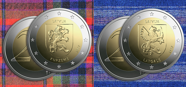 Latvia 2017 2 euro commemorative coins dedicated to Kurzeme and Latgale. Images courtesy Latvian Bank