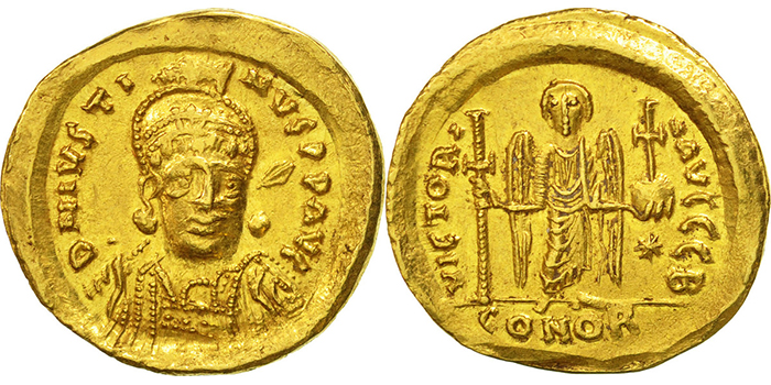 Solidus, Constantinople, Justin I
