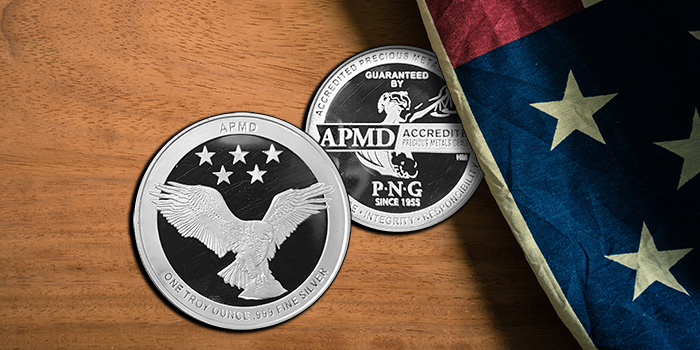 APMD Accredited Precious Metals Dealers One Troy Ounce .999 Fine Silver