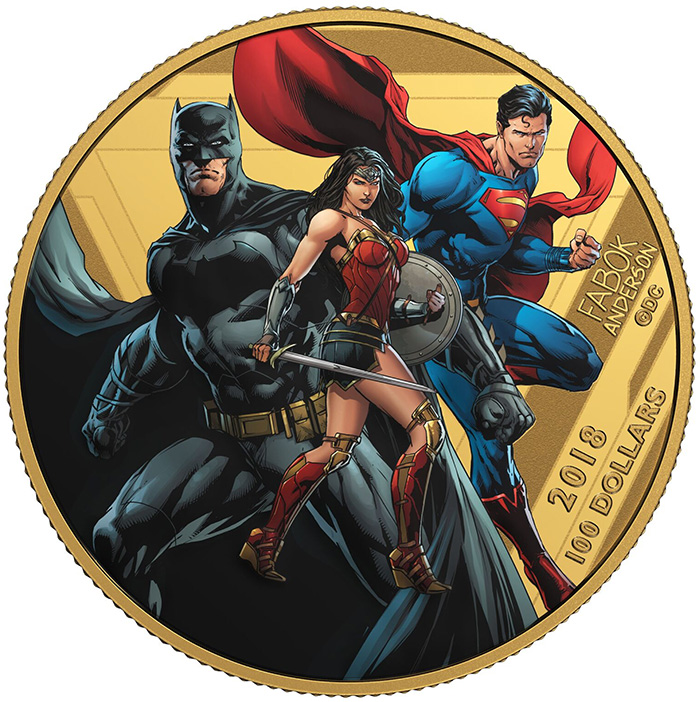 Justice League Comic Coin in Gold $100 Canada