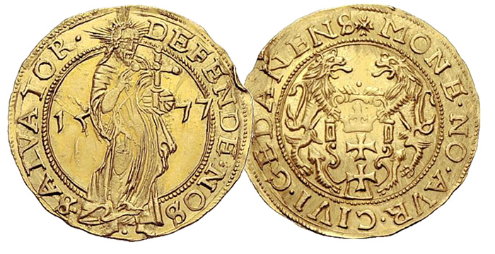 Sincona - Siege Gold Ducats 1577 - SINCONA AG Auction 2, 24 October 2011. Lot 1236. 3.48 g