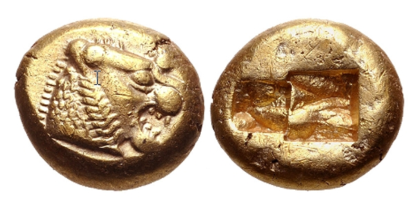 lions on gold lydian coin