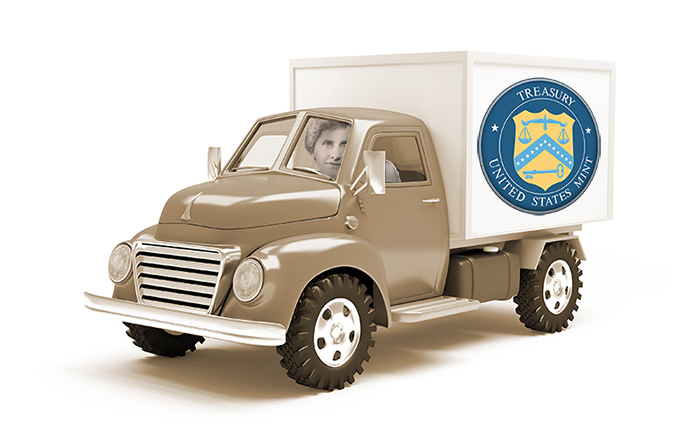 United States Mint Delivery Truck Artist Render - Nellie Tayloe Ross Driving