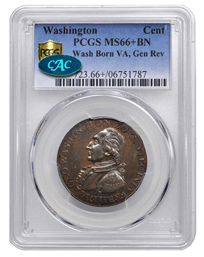 """PCGS MS66+BN Washington """"Cent"""" Post-Colonial Copper Stack's Bowers"""