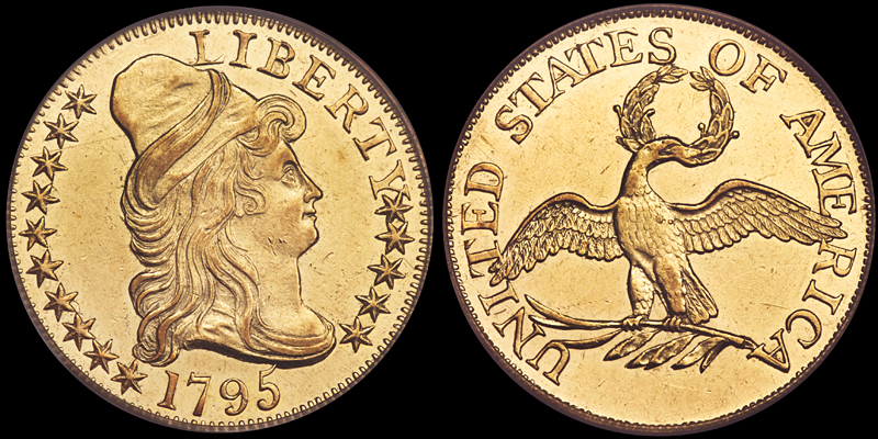 1795 SMALL EAGLE $5.00 PCGS AU58. IMAGE COURTESY OF HERITAGE