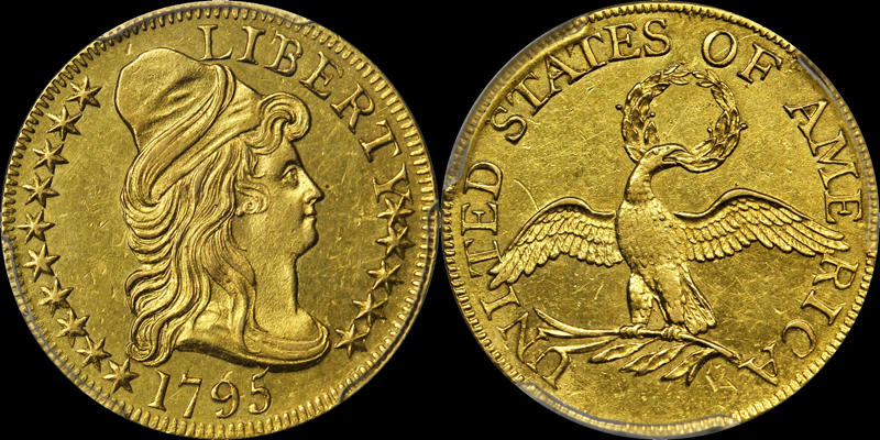 1795 SMALL EAGLE $5.00 PCGS AU58. IMAGE COURTESY OF STACK'S BOWERS