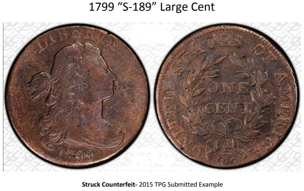 "1799 ""S-189"" large cent counterfeit attribution guide image 1"
