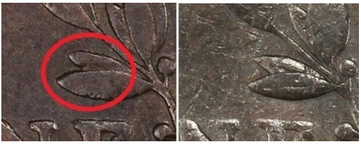 "Struck Counterfeit Genuine Example (Courtesy PCGS). ""Obvious"" after seeing the damaged example; leaf re-engraved over repaired area"