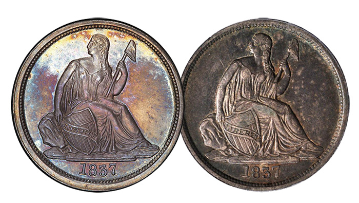 Left: Pogue Specimen (Realized $28,200); Right: PCGS EF45 (Realized $414).