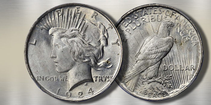 1924 Peace Dollar Stack's Bowers NGC MS67