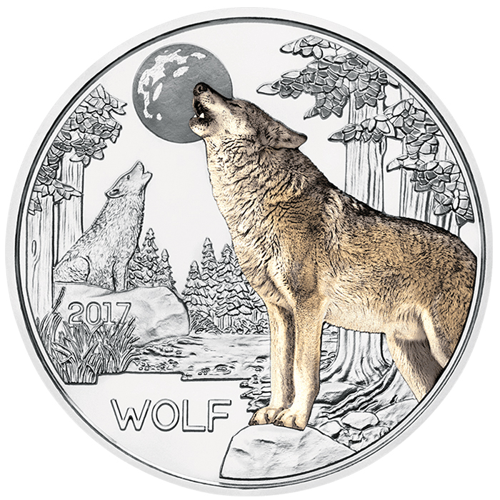 Austria 2017 Colorful Creatures: The Wolf 3 Euro Glow-in-the-Dark Coin. Image courtesy Austrian Mint