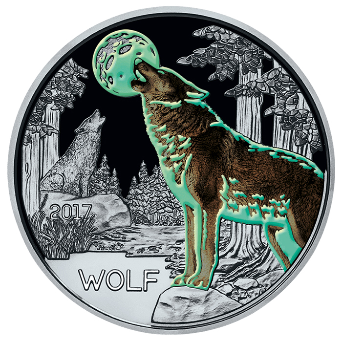 Reverse, Austria 2017 Colorful Creatures: The Wolf 3 Euro Glow-in-the-Dark Coin. Image courtesy Austrian Mint