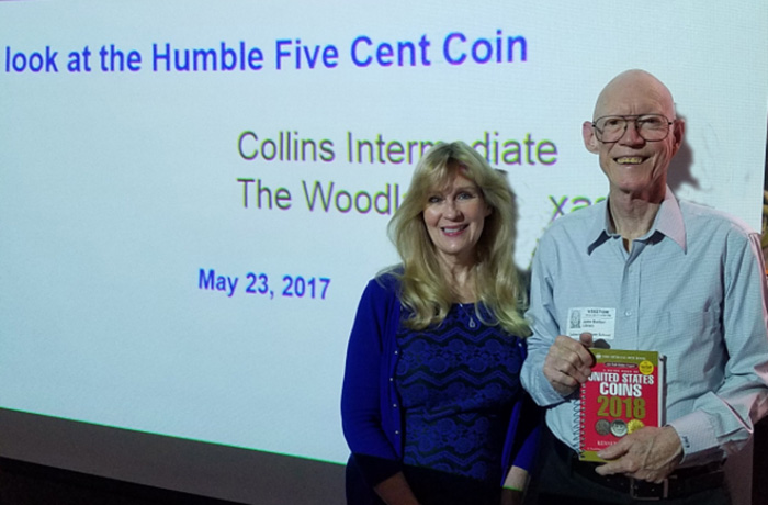 Eve Barber and John Barber of the GHCC give a presentation at Collins Intermediate School. Photo courtesy GHCC