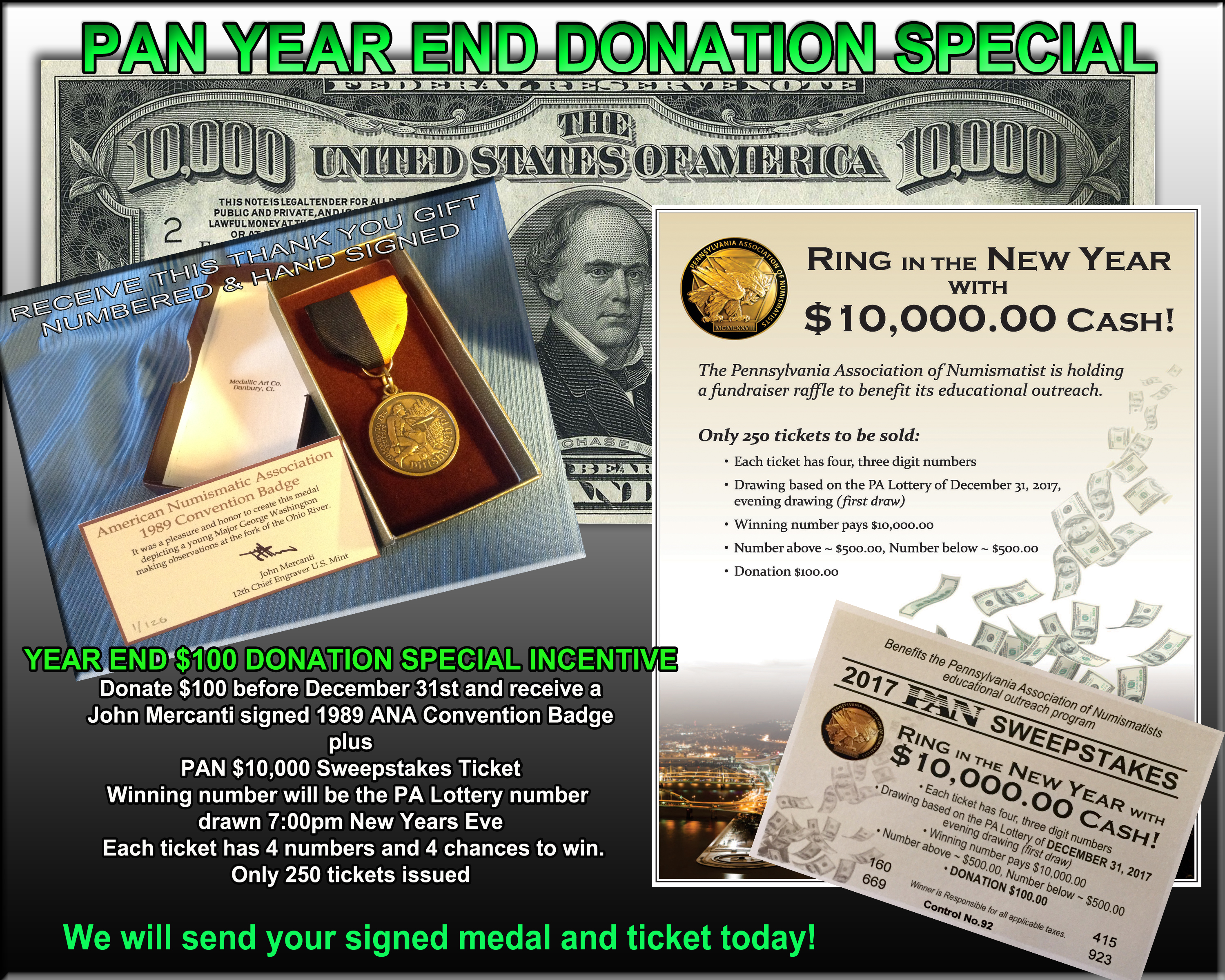 Pennsylvania Association of Numismatists 2017 End of the Year Donation Special