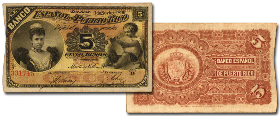 Puerto Rico 1896 5 Pesos. Images courtesy Stack's Bowers Galleries