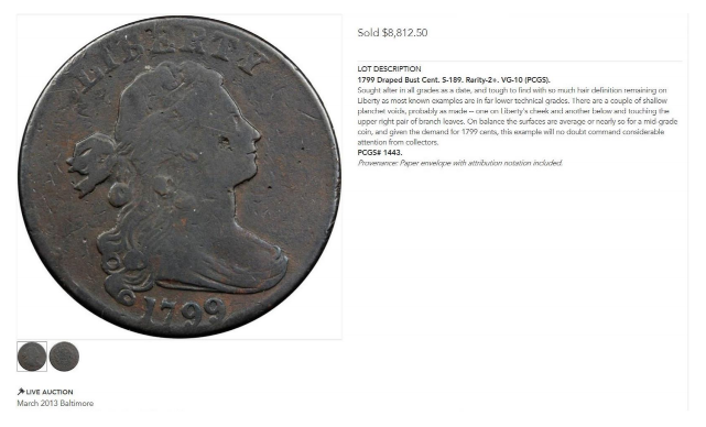 Counterfeit 1799 large cent lot #1067 in Stack's Bowers' March 2013 Baltimore Auction (as PCGS VG-10)