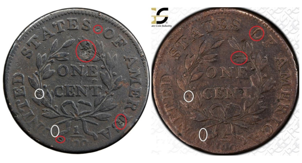 Reverse, common marks on counterfeit 1799 large cents, images courtesy Stacks Bowers & PCGS