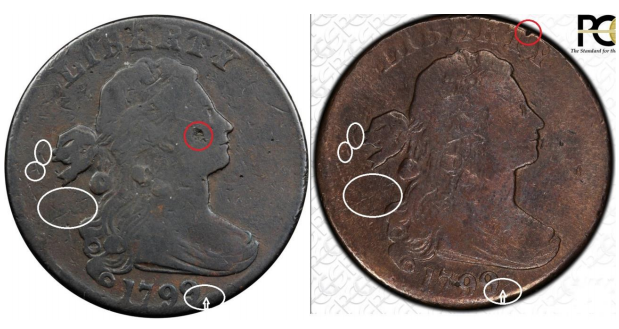 common marks on counterfeit 1799 large cents, images courtesy Stacks Bowers & PCGS