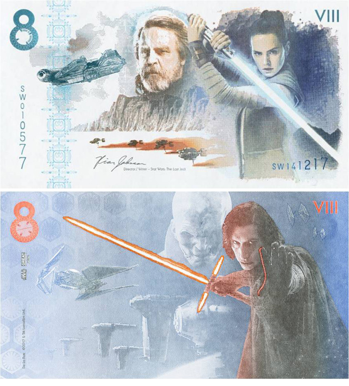 Star Wars Episode 8 Fantasy Note - De La Rue - The Last Jedi