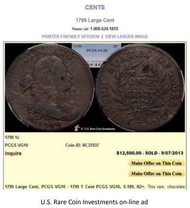 Counterfeit 1799 large cent U.S. Rare Coin Investments online ad