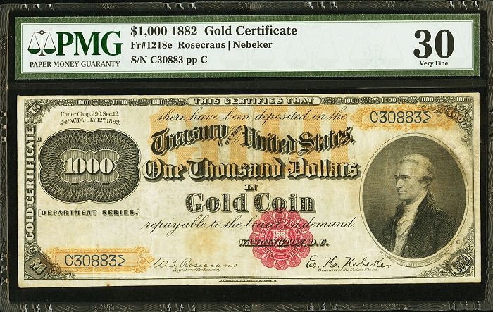 Rare 1882 Gold Certificate To Push For Top Lot Honors At Heritage\'s ...