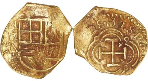 "Bogota, Colombia, cob 2 escudos, (16)28 assayerA, from the ""Mesuno Hoard"". Images courtesy Daniel Frank Sedwick, LLC"