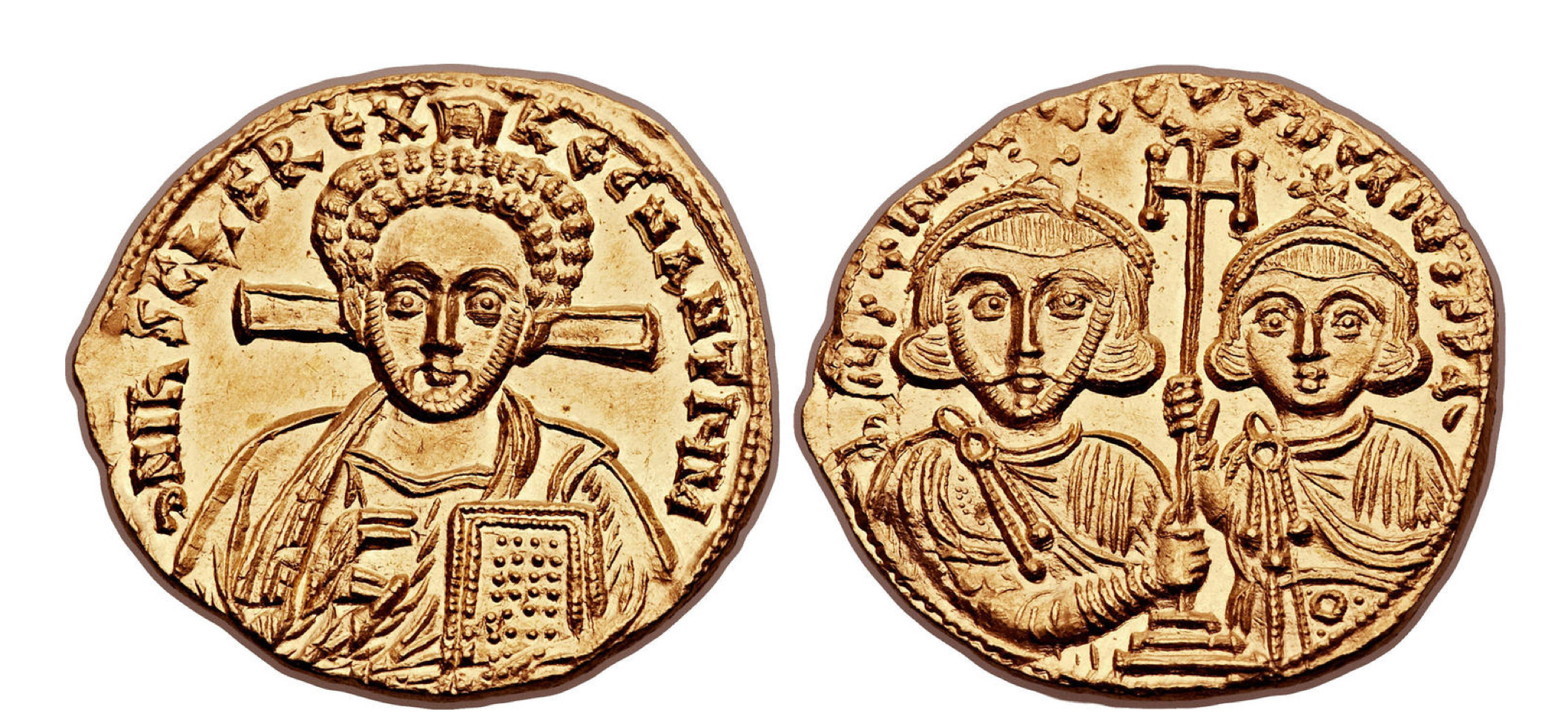 Justinian II, second reign (AD 705-711), with Tiberius. AV solidus.