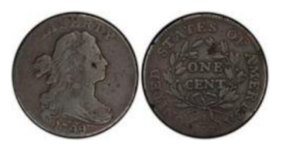 "Probable Source for the only known struck example of the 1799 ""S-189"" large cent struck counterfeit. Images courtesy Jack D. Young et al."
