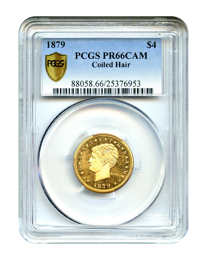 1879 Stella $4 Gold Coin Coiled Hair - David Lawrence Rare Coins