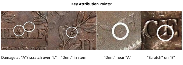 1806 half cent counterfeit attribution guide