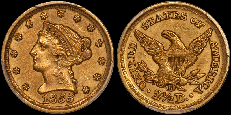 ALWAYS POPULAR DAHLONEGA MINT 1855 QUARTER EAGLE IN PCGS AU58 CAC. Images courtesy Doug Winter