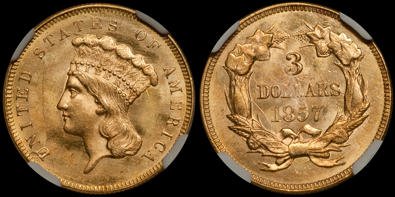 1857 $3.00 NGC MS64+ CAC. Images courtesy Doug Winter