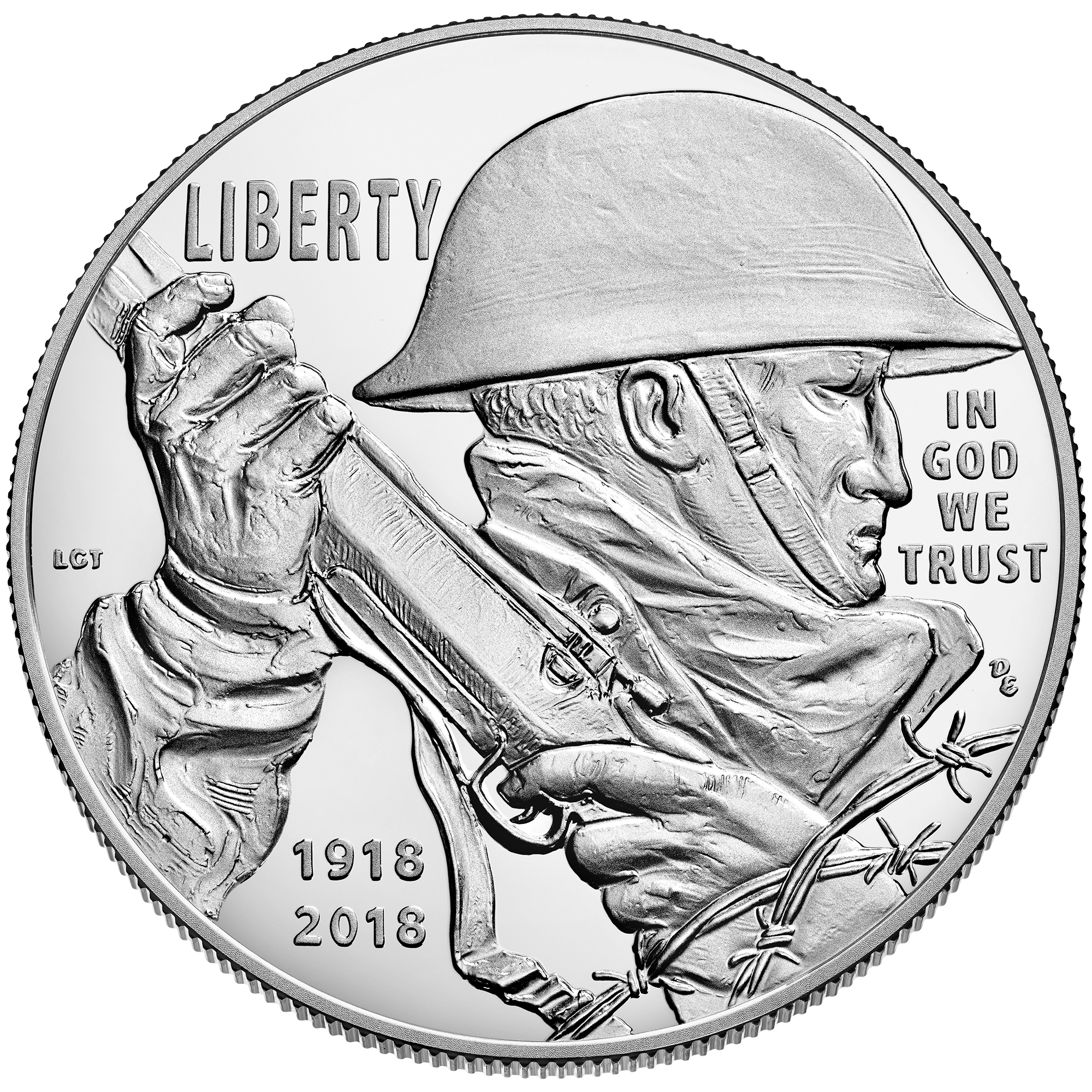 Obverse, United States 2018 WWI Army Veterans Centennial Silver $1 Commemorative Coin. Image courtesy US Mint