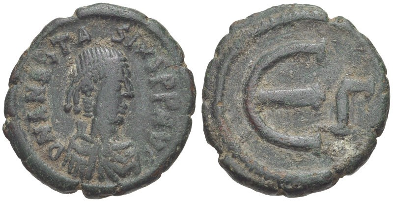 Ancient Byzantine bronze coin, 5-nummi (pentanummium). Images courtesy CNG, NGC