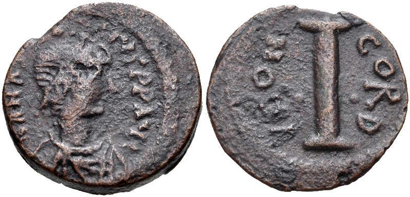 Ancient Byzantine bronze coin, 10-nummi (decanummium). Images courtesy Classical Numismatic Group, NGC
