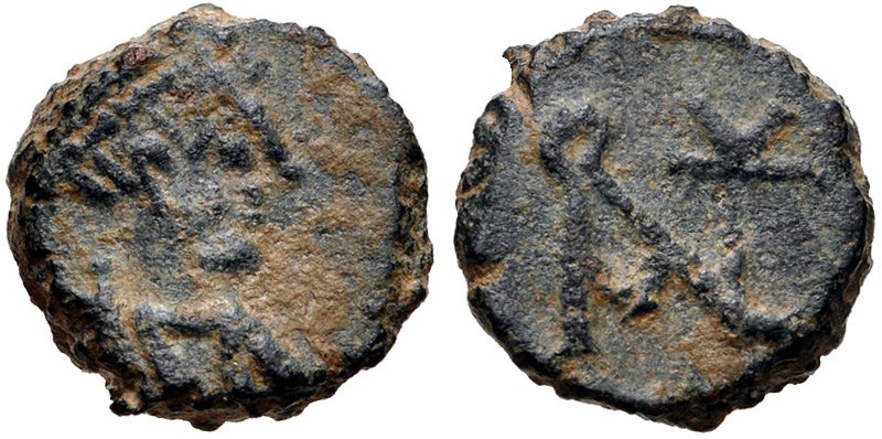 Ancient Byzantine coin, Nummus of Anastasius. Images courtesy Classical Numismatic Group, NGC